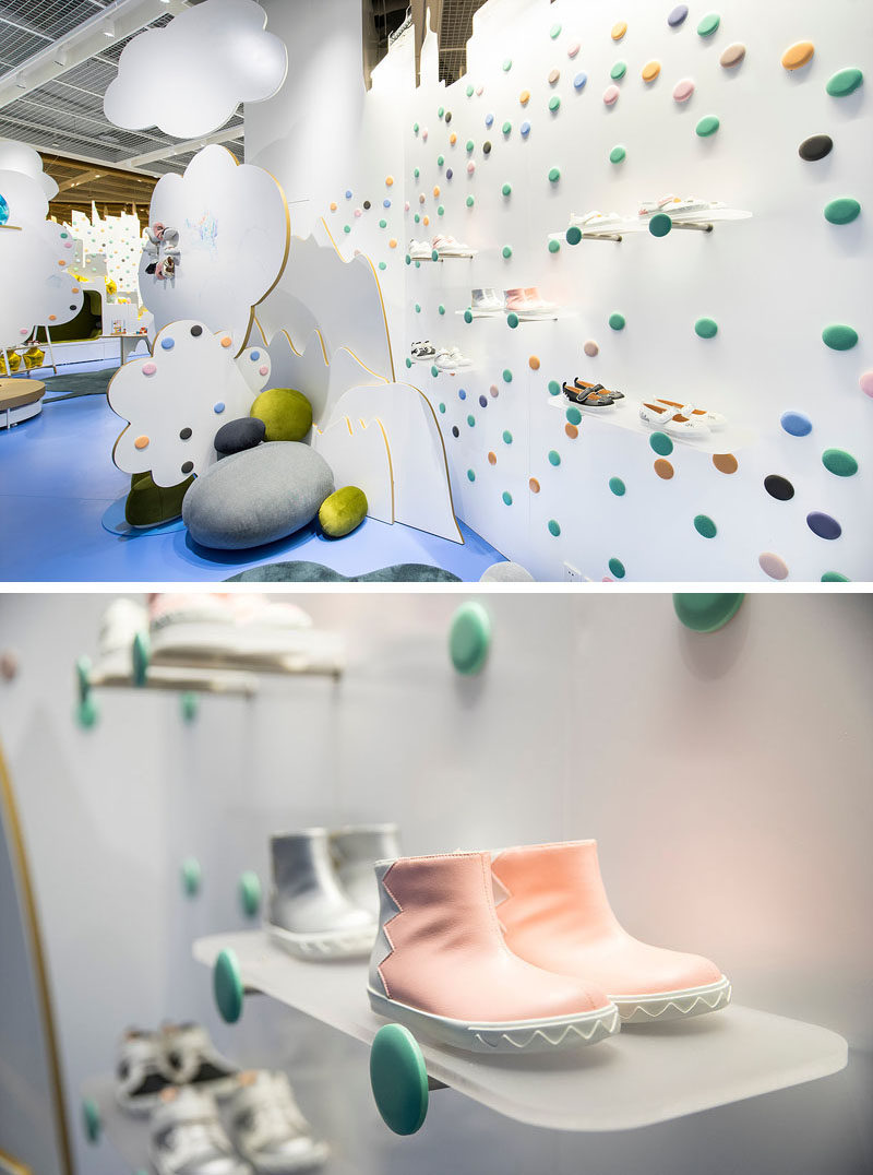 Inside this modern kid's shoe store, simple frosted shelves placed on hangers allow the shoes to appear like they are floating. #Shelving #ShoeStore #RetailDesign #InteriorDesign #StoreDesign