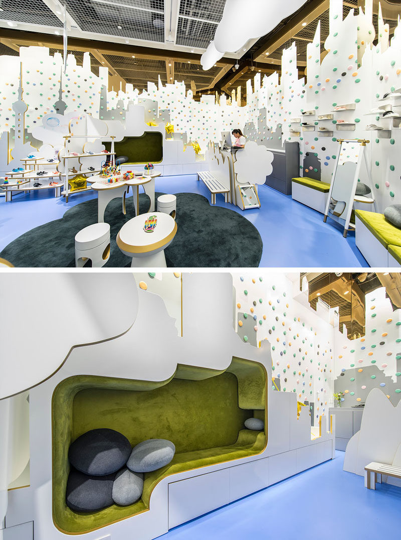 By the service area in this modern children's shoe store, there's cut-outs with gold steel edges and the white surfaces can be used by children to draw on, much like a whiteboard. There's also a built-in nook for kids to sit in or relax. #ShoeStore #RetailDesign #InteriorDesign #StoreDesign