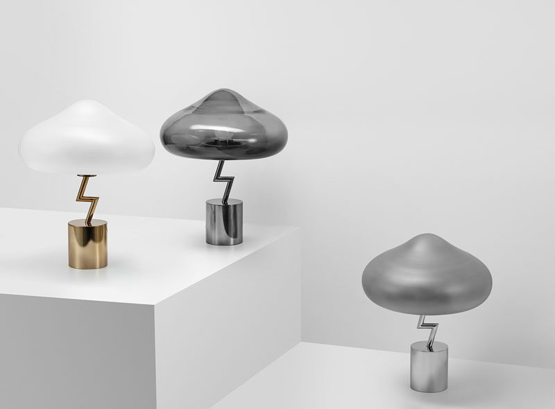 Korean designer Jiyoun Kim has launched his latest design named the Lightning Lamp, a collection of modern table lamps that has a glass cloud with a stainless steel lightning bolt. #ModernLighting #Design #TableLamp #Lighting