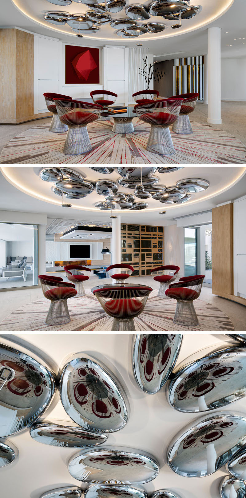 This modern house has a coffee lounge with a futuristic design approach. Mercury ceiling lights by Artemide are positioned above Platner arm chairs by Knoll. #SittingArea #ModernInteriorDesign #ModernFurniture #ModernLighting