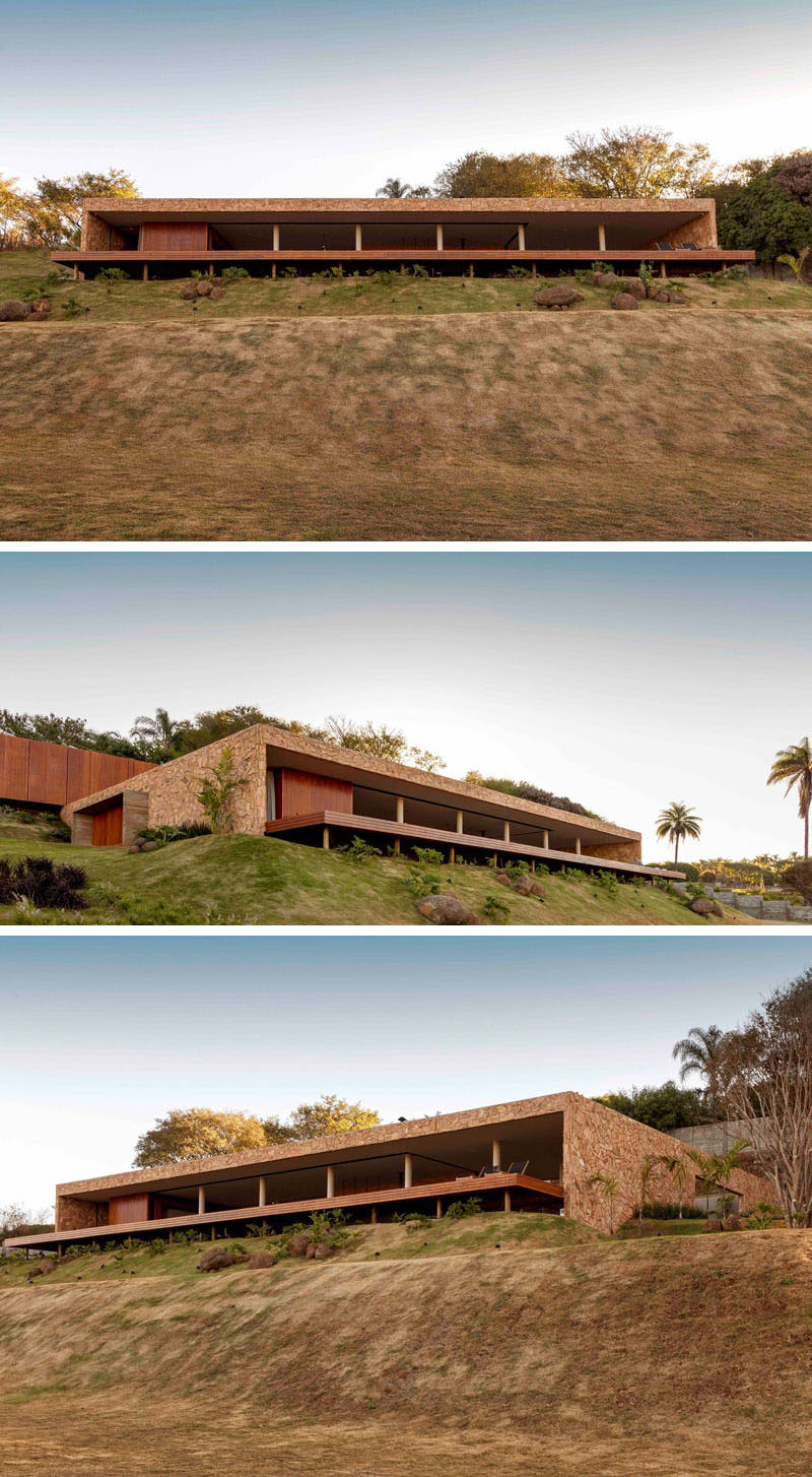 This modern house is split into two 'boxes', with the lower building designated for the social areas, and the upper building for sleeping. #ModernHouse #ModernArchitecture #HouseDesign #Brazil
