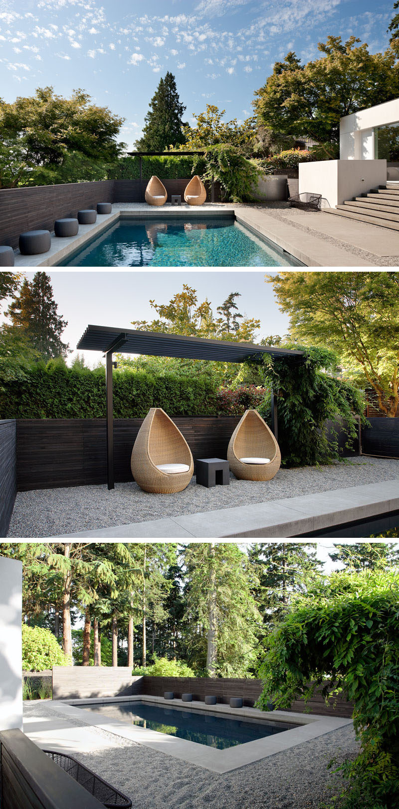 In this modern backyard there's a swimming pool and at one end, two sculptural chairs sit underneath a small pergola. Gravel surrounds the pool and a dark wood fence provides privacy. #Pergola #ModernBackyard #SwimmingPool #Landscaping #LandscapeDesign