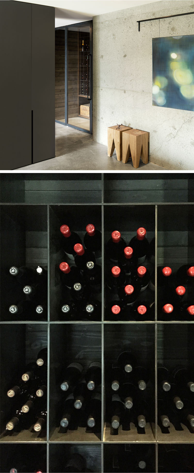 On the lower level of this renovated modern home, an existing foundation wall was exposed in the hall that leads to a small wine cellar off the workshop. #ModernHouse #WineRoom #WineStorage #WineCellar