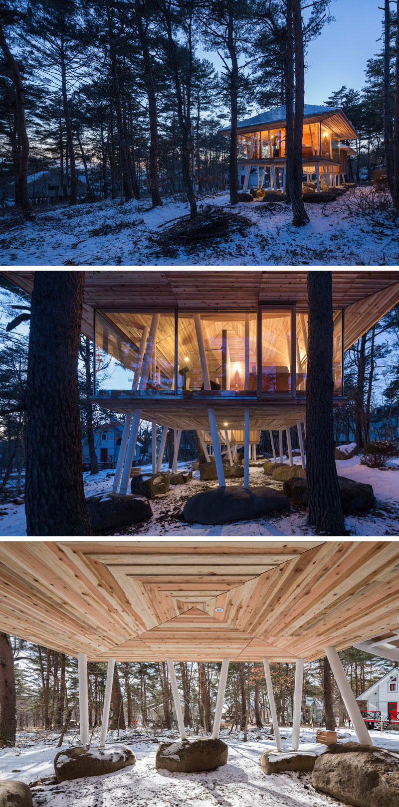 Architecture firm Life Style Koubou, have designed the 'One Year Project', a vacation home in Japan that features two separate buildings positioned on stilts and connected by a bridge. #Architecture #ModernArchitecture #Stilts #VacationHome #JapaneseArchitecture