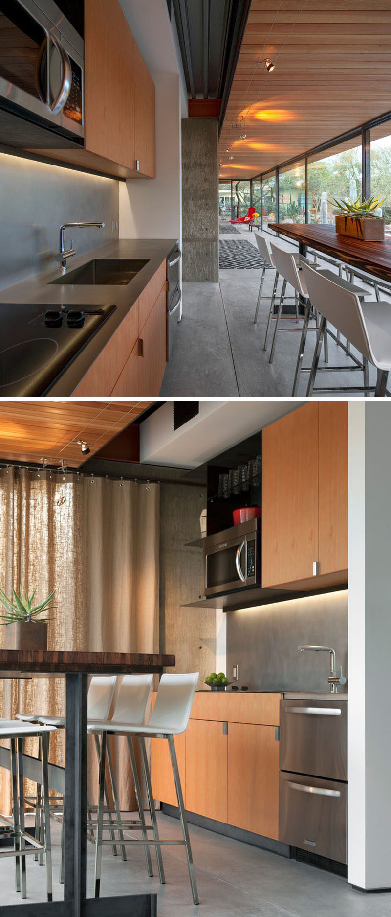 Stepping inside this modern guest house, there's a small kitchen with the essentials and a bar table with plenty of seating. #SmallKitchen #KitchenDesign #WoodKitchen #InteriorDesign #ModernKitchen