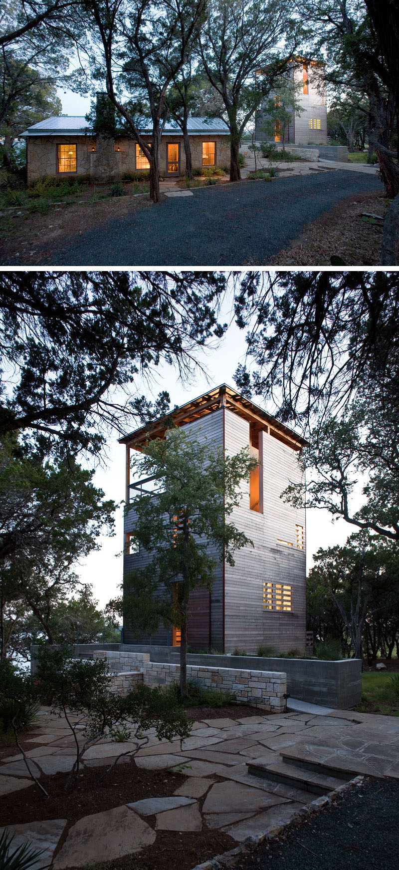 Andersson-Wise Architects have designed the Tower House in Austin, Texas, as a solution to their clients request for additional two bedrooms with baths and larger living area. Instead of building an extension onto a 1930's limestone cabin, they instead created a vertical tower of wood nearby. #ModernArchitecture #Tower #ModernHouse