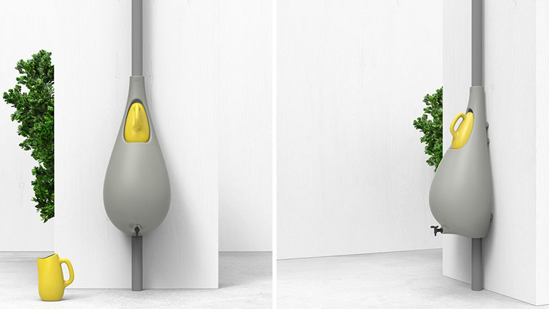 Dutch design firm Studio Bas van der Veer, has created Raindrop, a rain barrel with a watering can and tap, that mounts to a wall and collects rainwater. #Gardening #RainBarrel #Design