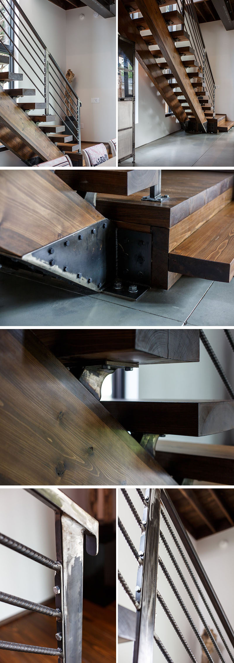 Wood stairs have been combined with metal accents and handrails in this modern house to bring an industrial touch to the interior. #Industrial #Wood #Steel #Stairs #Staircase #InteriorDesign