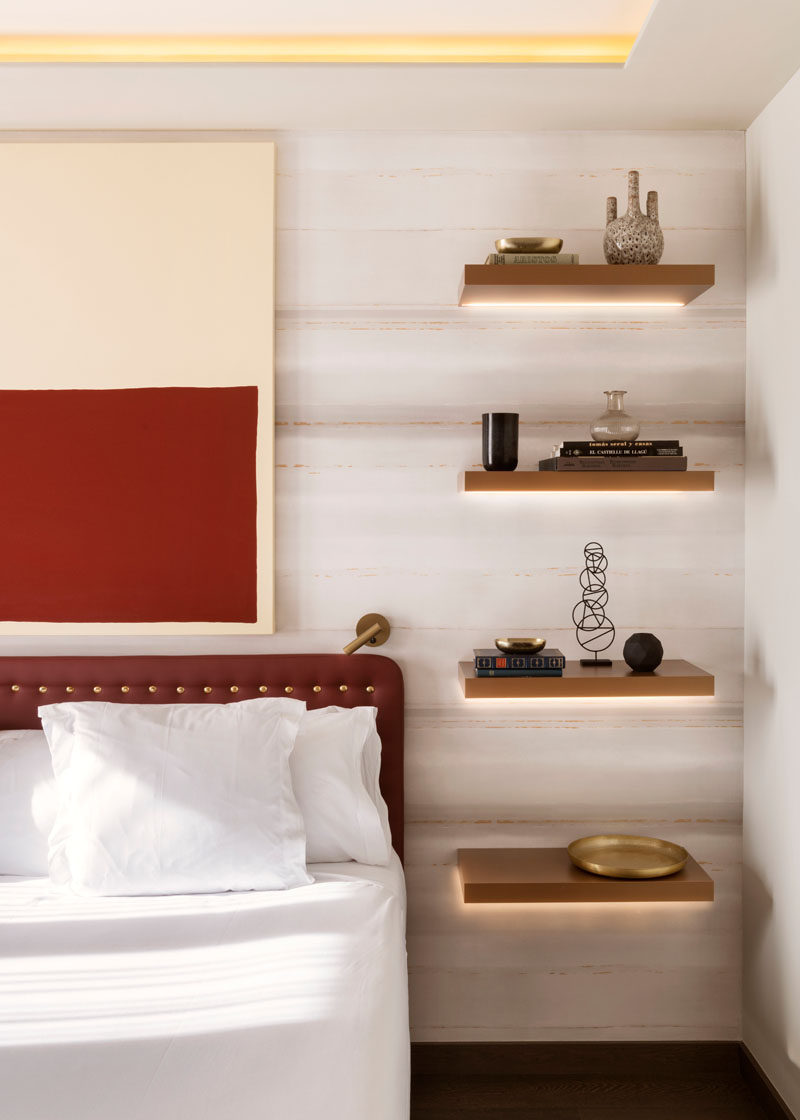 bedroom shelf ideas bedroom design idea replace a bedside table and l with floating shelves and lighting 2169