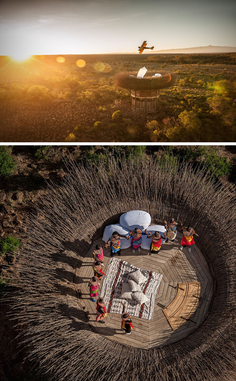 Guests can sleep inside this one-of-a-kind Bird Nest Villa at Segera Retreat in Kenya. #Travel #Hotel #Kenya #Architecture