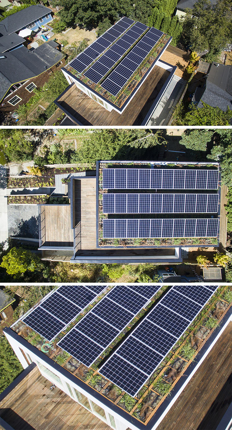 Green home builder Dwell Development, have recently completed this new house in Seattle's historic Capitol Hill neighborhood, and as part of the design, they included a solar package and a green roof. #SolarPanels #SolarRoof #GreenRoof #Architecture
