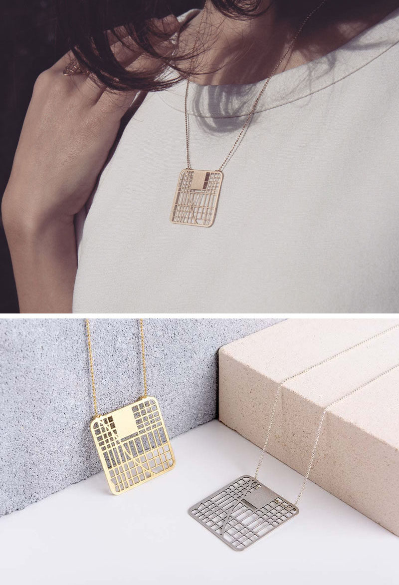 Industrial designer and jeweler Talia of TaliaSari, has created a line of jewelry that includes necklaces, rings and brooches, that are inspired by city maps. #ModernJewelry #ModernJewellery #Style #Design #Fashion