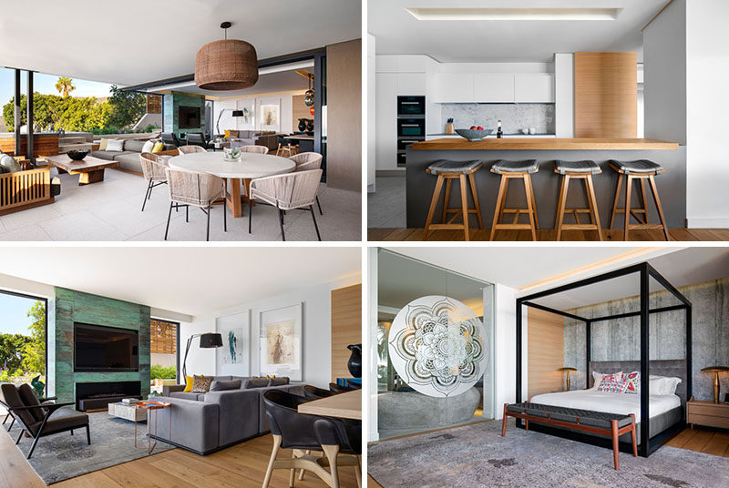 The Interior Design Of This Apartment Includes A Mixture Of ...