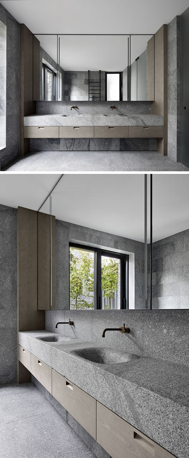 This modern master bathroom has smooth granite walls that create a natural appearance, while the basin and countertop have been engineered from a solid block of granite, creating a seamless finish. #GraniteBathroom #GraniteCounter #ModernBathroom