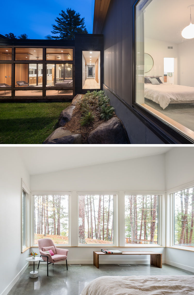 The windows in this modern bedroom wrap around one end of the room to provide views of the outdoors. #ModernBedroom #Windows
