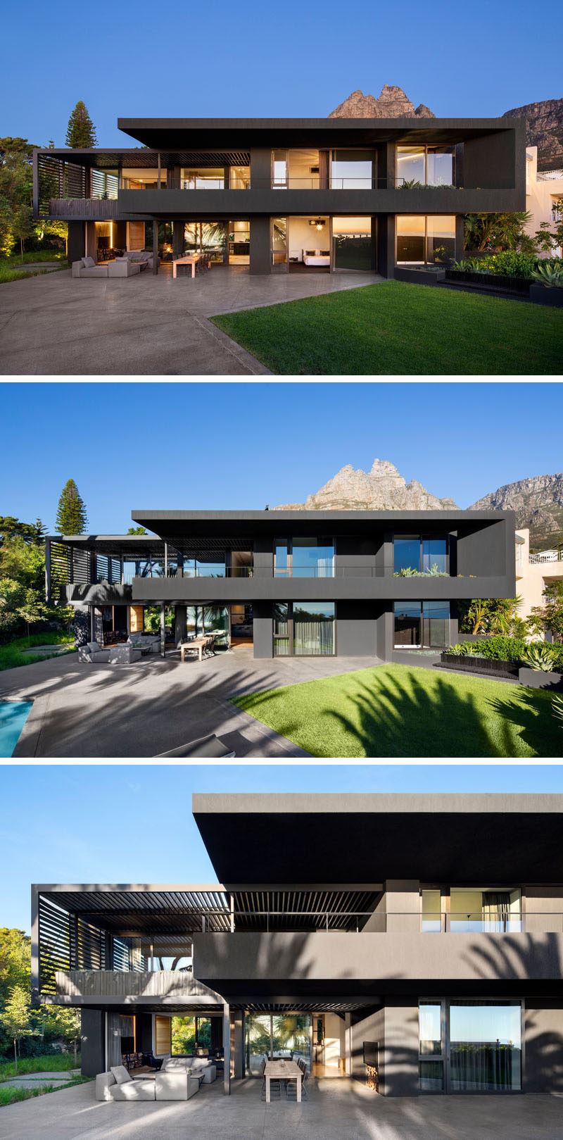 The rear of this modern house is filled with large windows and sliding doors on the lower level open the interior to a large patio with an outdoor lounge and dining area, and the backyard that has a swimming pool. #Windows #Backyard #ModernHouse #BlackHouse
