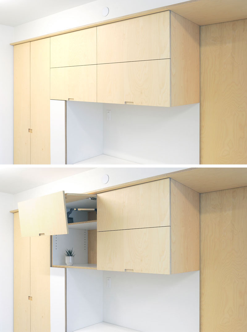 These plywood storage cabinets that have doors that open vertically. #Cabinets #Storage