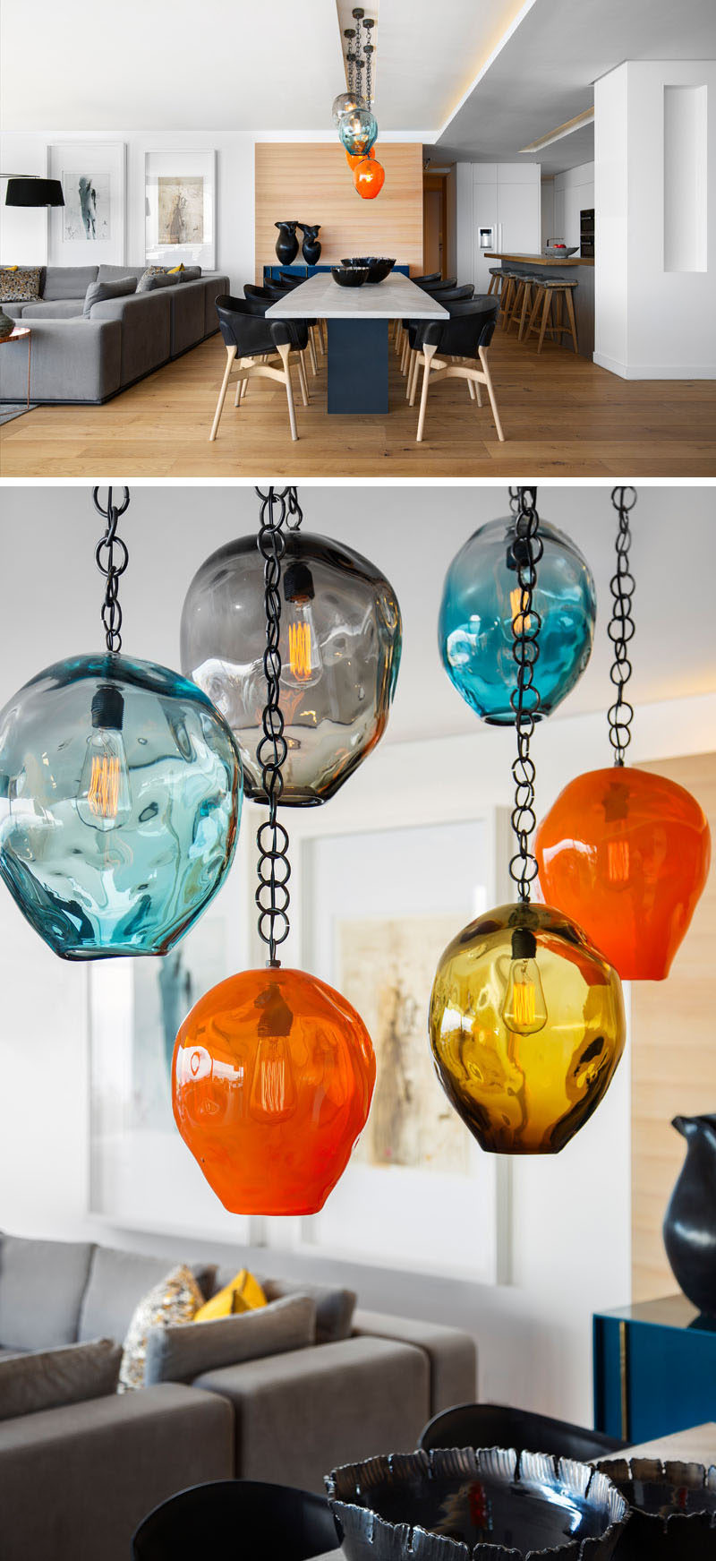 Hanging above this modern dining table are custom glass pendants by David Reade, that add vibrancy and colour to the room. #DiningRoom #GlassPendants #Lighting