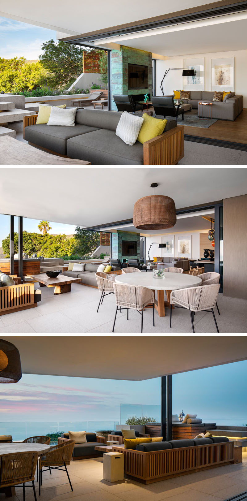 Glass pocket doors slide into the fireplace cavities, and open up this modern lounge area to the outdoor terrace and side garden. The terrace is equipped with an outdoor kitchen, dining and living space, all positioned to take advantage of the ocean views. #OutdoorSpace #OutdoorDining #OutdoorLivingRoom