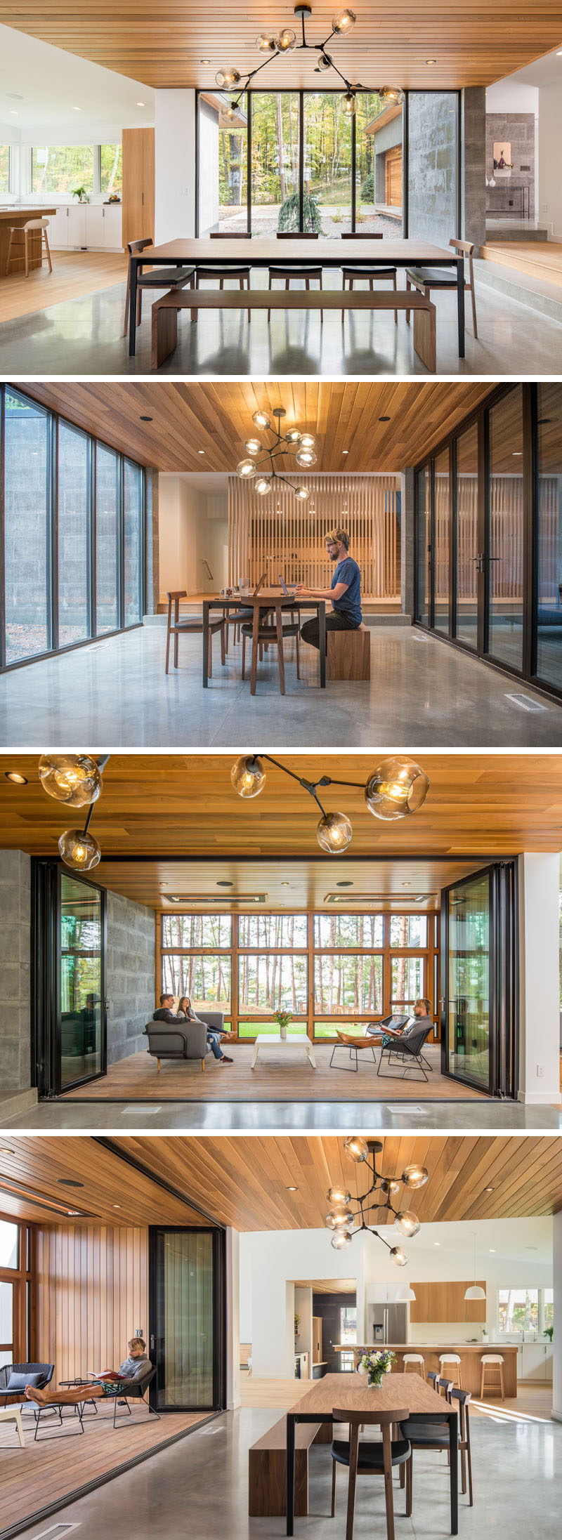 This modern house features a glass core that creates an abundance of light and shows off the lake views. The glass walls also separate the large dining area from a enclosed porch. When needed the glass wall can be opened to expose the porch and increase the size of the interior space. #ModernDiningRoom #GlassWalls #ModernHouse #EnclosedPorch