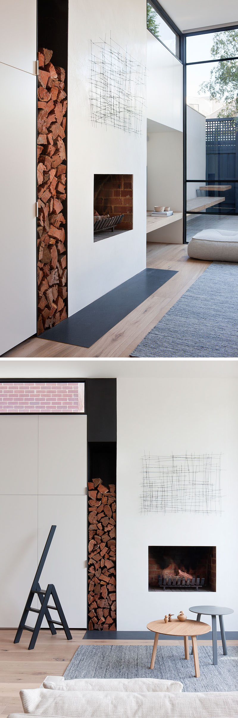 In this modern living room, a wood shelf lines up with the bench in the courtyard, while a built-in fireplace and with brick details, as well as a void for wood storage sit flush with the cabinets that lead into the kitchen. #WoodShelf #Fireplace #WoodStorage #WhiteCabinets