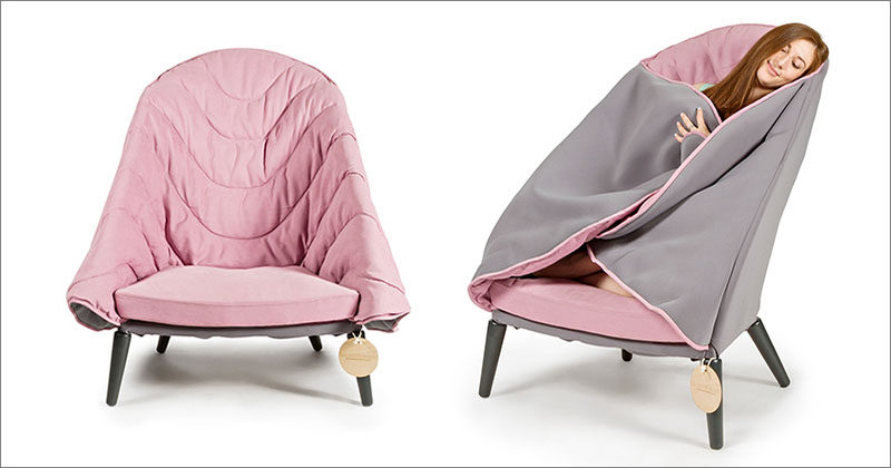 Moscow-based furniture designer Kseniya Alferova, has created COLE, an armchair that allows you to wrap yourself up and get cozy. #FurnitureDesign #Armchair #Design #Seating