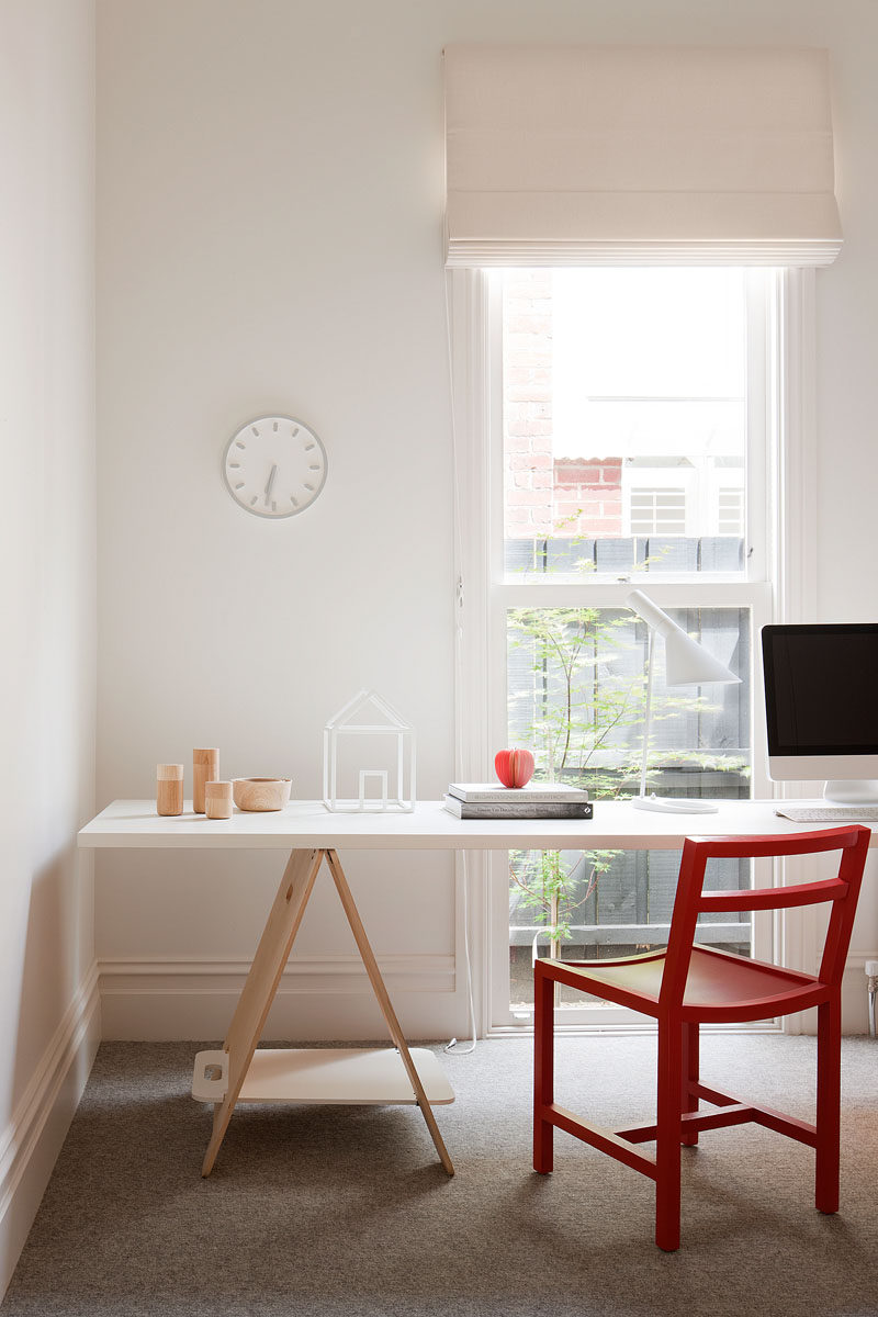 This modern study has been designed to have the desk sit in front of the windows to take advantage of the light. #ModernStudy #Study #Office #InteriorDesign