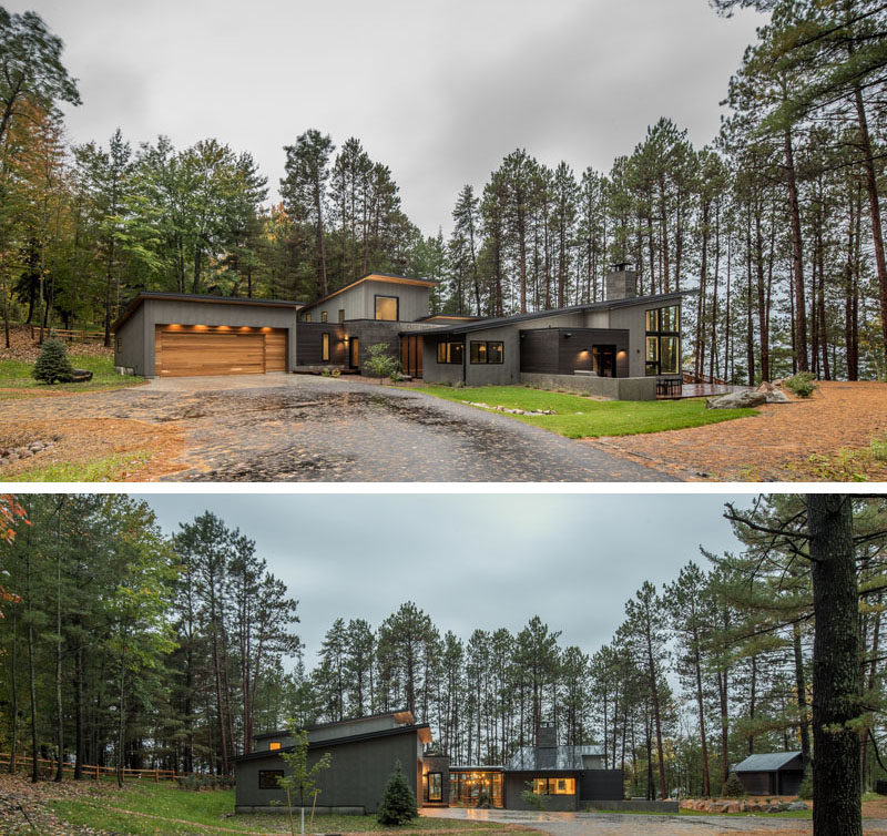 Strand Design have recently completed a new home on a lake in northern Minnesota, for a young couple that combines their appreciation of Scandinavian architecture and their active lifestyle, and at the same time, celebrates the natural woods environment. #ModernHouse #HouseDesign #ModernArchitecture