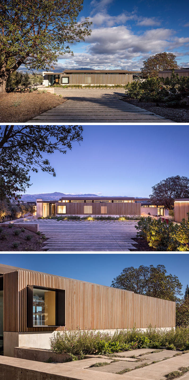 Upon arrival at this modern house, the driveway expands to the width of the house that's covered in wood slats with protruding window frames. #ModernHouse #Driveway #WoodFacade #Windows