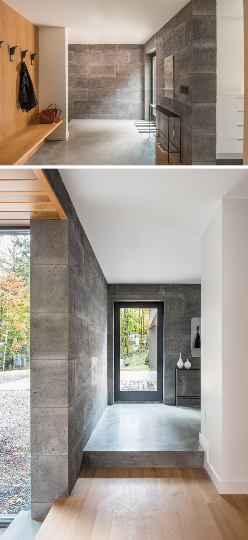 A glass front door welcomes you to this modern house and once inside there's a dedicated space for hanging jackets and putting on shoes. A couple of steps lead to the main living area of the house. #GlassFrontDoor #Entryway