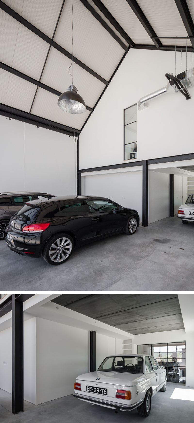 This modern house has a large garage with a hitch ceiling and enough room for four cars. #Garage #Architecture #ModernHouse
