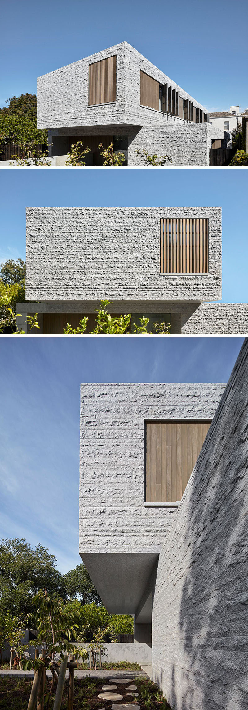 b.e architecture have recently completed a new three-storey house in Melbourne, Australia, that features 260 tons of granite which make up the building's skin. #ModernArchitecture #GraniteFacade #ModernHouse