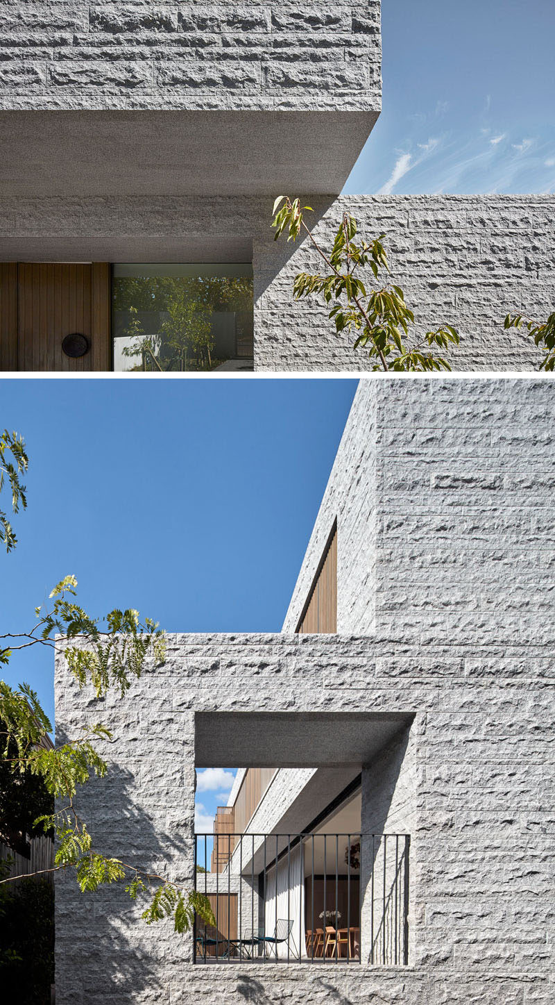 The granite on the exterior of this modern house has a split-faced finish that allows the home to have a textured when viewed from the outside. #Granite #SplitFacedGranite #GraniteHouse #ModernHouse