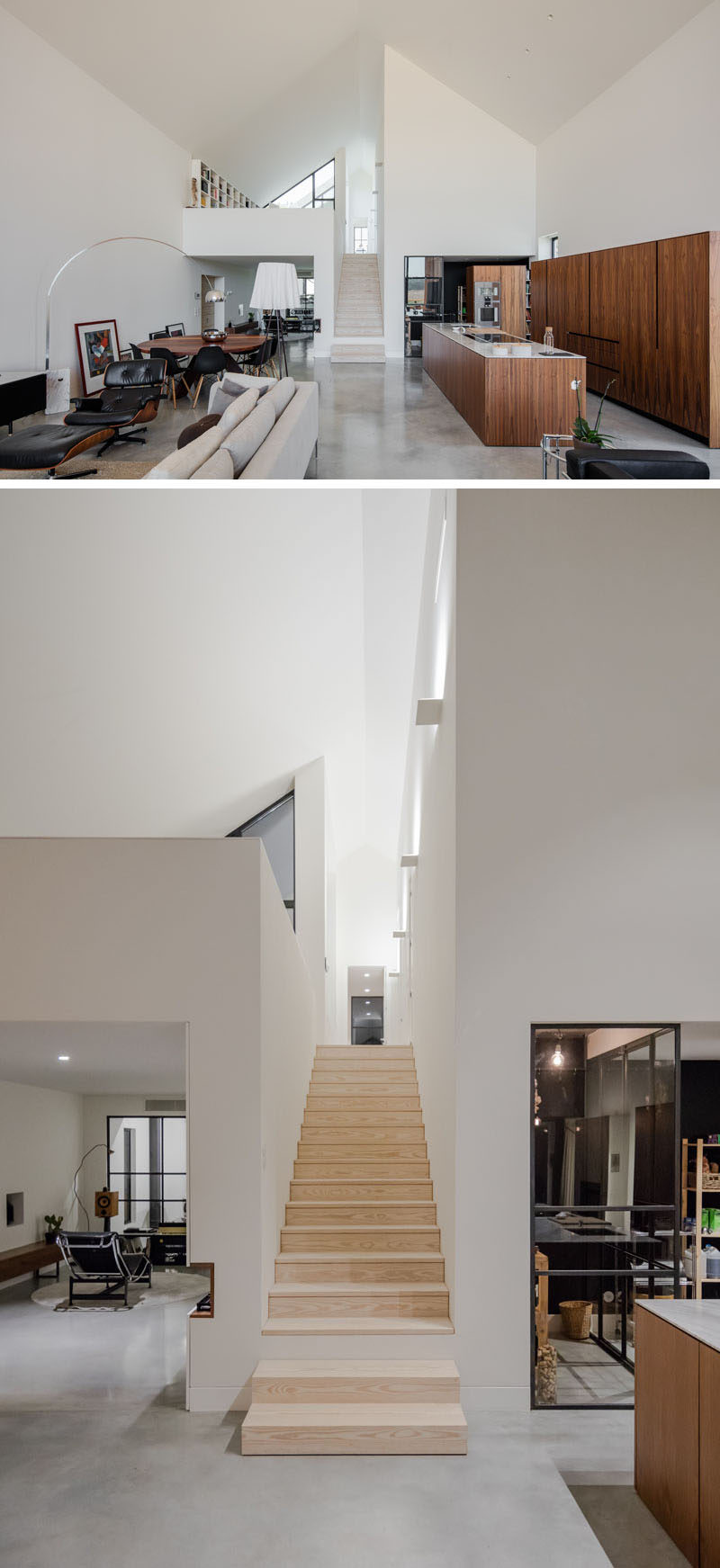 Connecting the social areas of this modern house with the bedrooms and other areas of the home is a simple wood staircase between white walls. #WoodStairs #ModernInteriorDesign