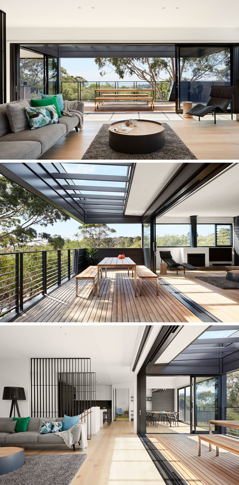 This modern living room has large sliding glass doors that open the space up to the balcony for an indoor / outdoor living experience. #LivingRoom #Balcony #OutdoorDining #ModernInteriorDesign
