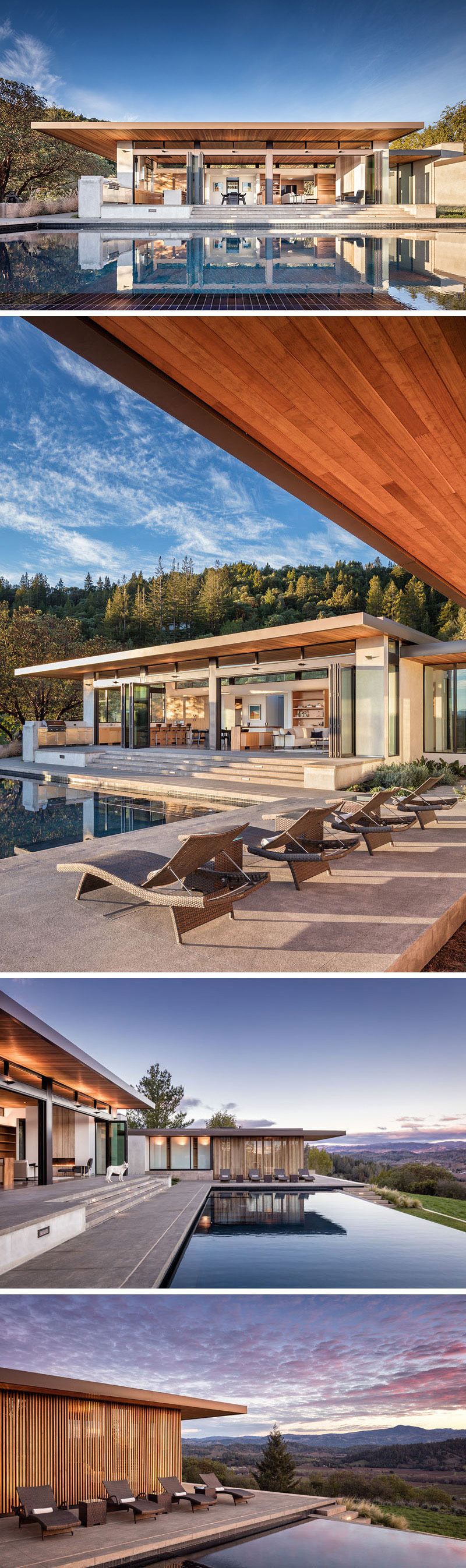 The layout of this modern house allows for seamless indoor-outdoor living experiences as each pavilion is positioned around a large deck and swimming pool. #ModernHouse #SwimmingPool #Architecture
