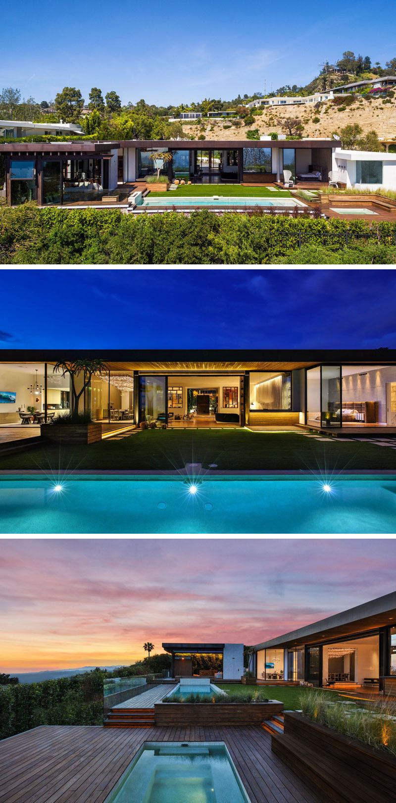 The rear of this modern house has been split up into various multi-level areas, with a pool house, swimming pool, lawn and sunken hot tub. #ModernHouse #SwimmingPool #Landscaping