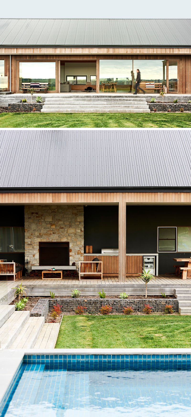 This modern house has a wrap-around deck that follows the shape of the house and allows for an outdoor living and kitchen area with a barbecue.