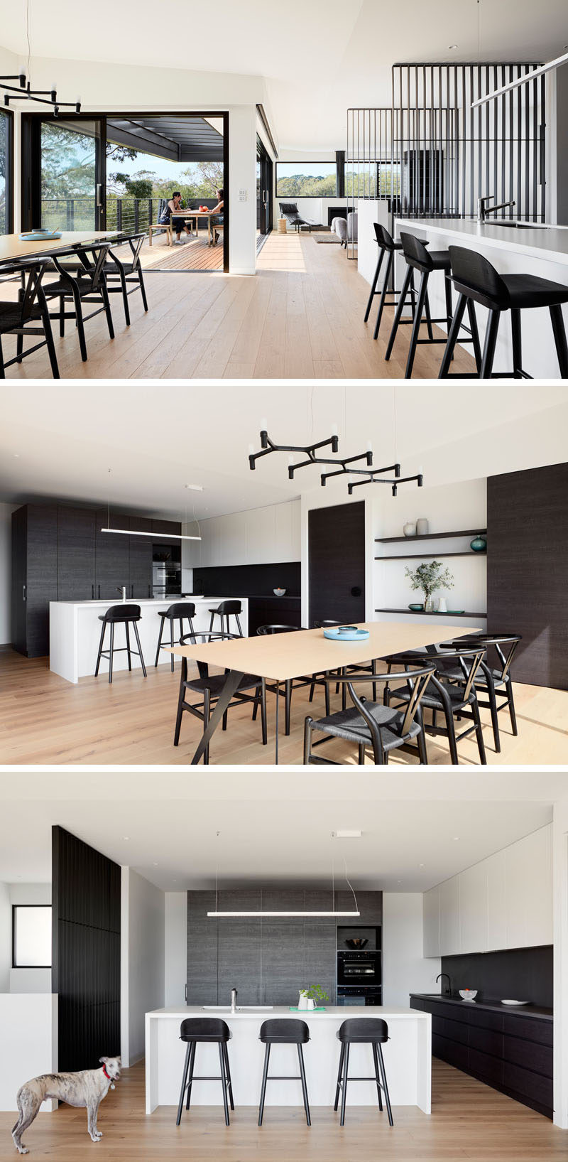 This modern kitchen has a large white island, while dark cabinetry compliments the other dark elements like the dining chairs, counter stools and shelving. #KitchenDesign #ModernKitchen #ModernDiningRoom #DarkCabinets