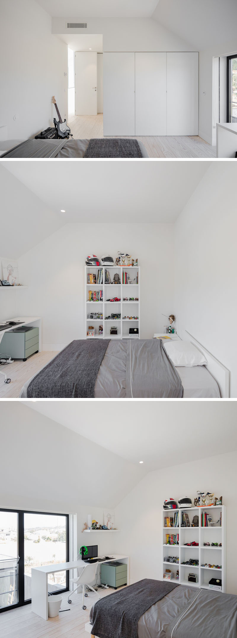 This modern kids bedroom has a minimalist white built-in wardrobe and simple shelving. The desk and bed have both been positioned to take advantage of the view from the windows. #KidsBedroom #ModernKidsBedroom #BedroomDesign