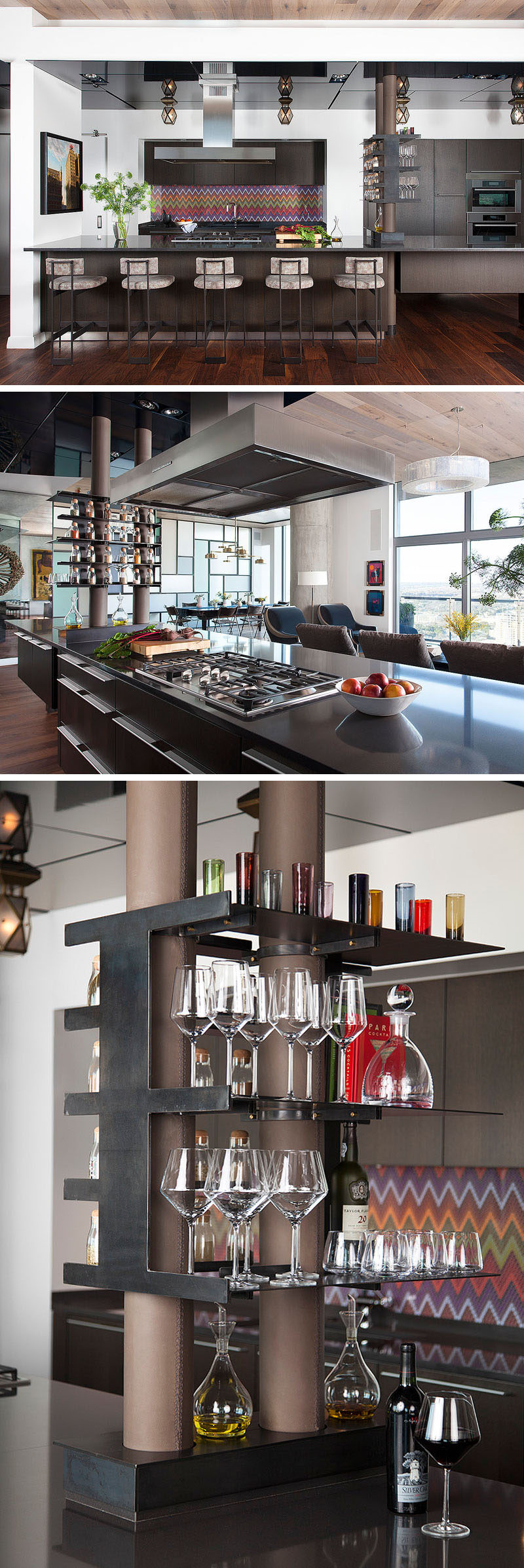 In this modern kitchen, a bright backsplash adds a touch of color, while exposed drainpipes have been wrapped in leather and are a on display as part of some open shelving. #KitchenDesign #InteriorDesign #OpenShelving