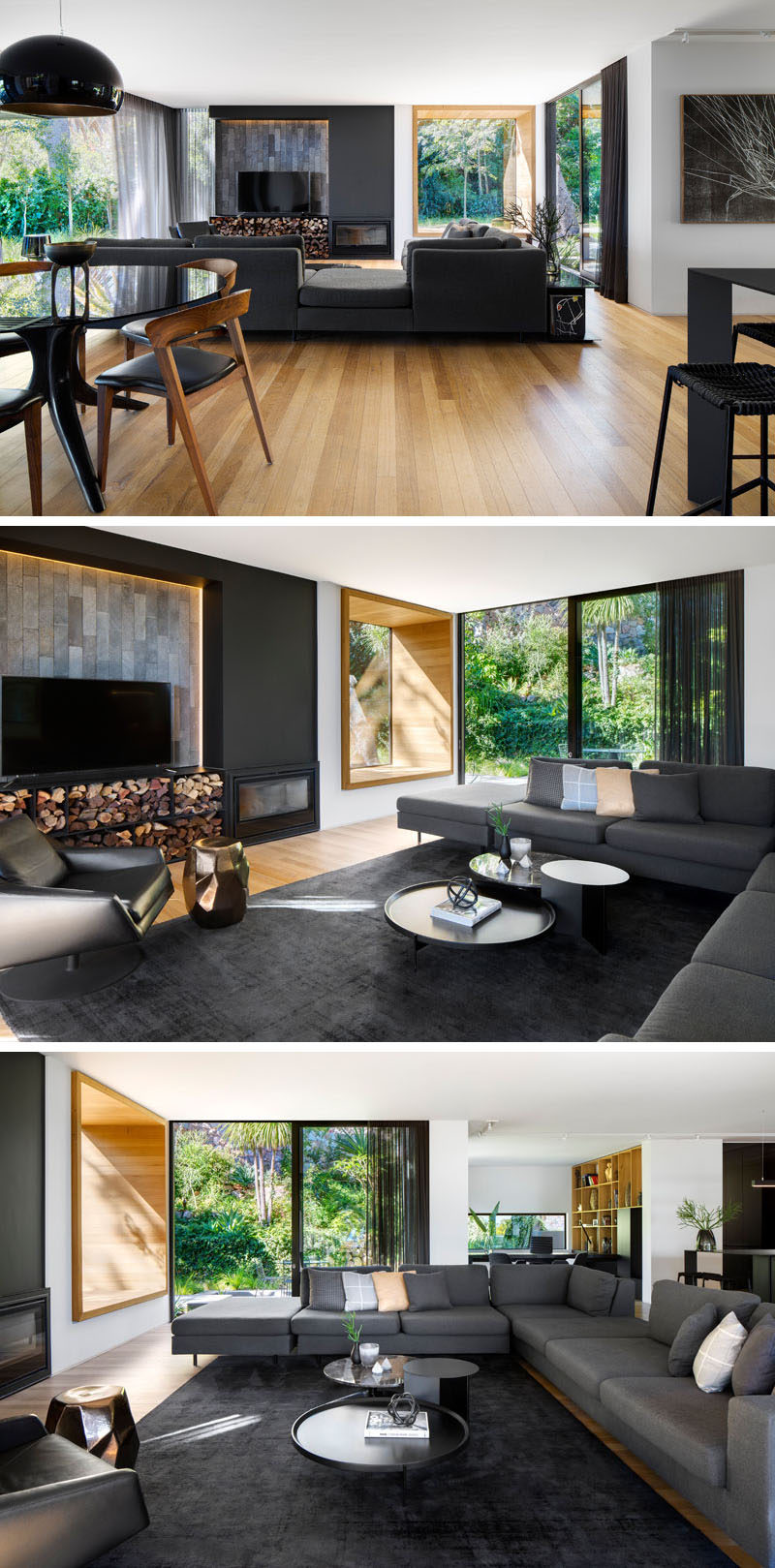 In this modern living room, there's a tiled accent wall behind the tv and below, is plenty of firewood storage for the fireplace that is next to it. There's also a wood-framed window seat and access to a small outdoor patio on the right. #WindowSeat #ModernLivingRoom #Fireplace