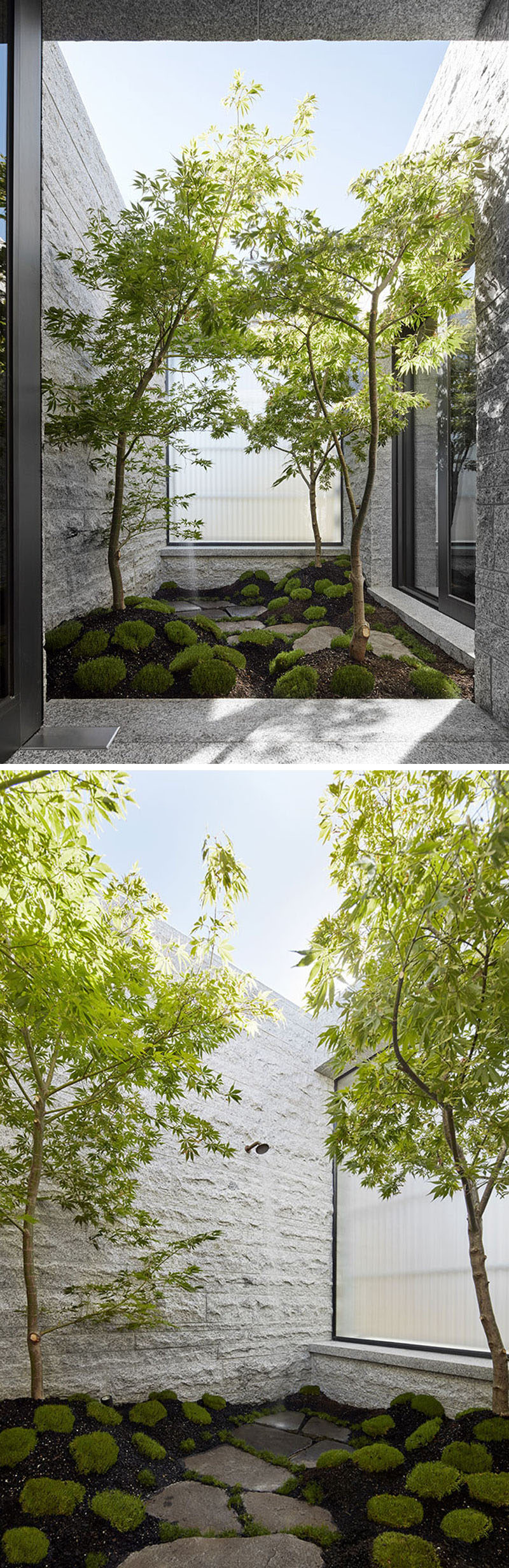 Granite and glass have been used to surround a private outdoor shower in a secluded Japanese garden that's connected to the master bedroom. #OutdoorShower #GraniteWalls #JapaneseGarden