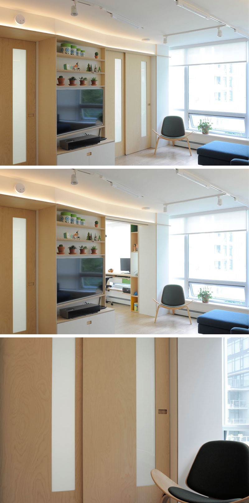 Sliding doors close off this home office in this small apartment to allow for privacy when working. #HomeOffice #SlidingDoors