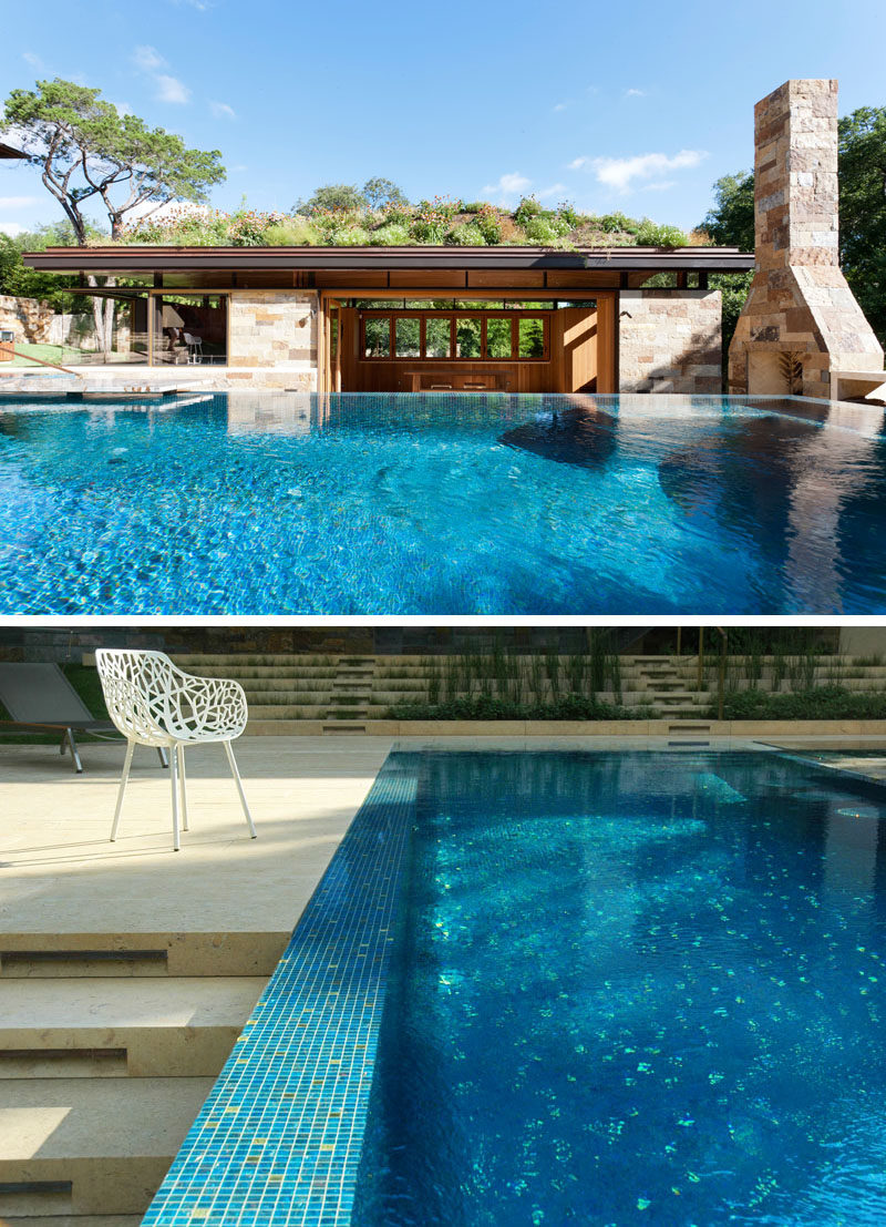 Murray Legge Architecture have designed a modern pool house, swimming pool, spa and terraced landscape for a home in Westlake Hills, Texas. #PoolHouse #GreenRoof #SwimmingPool #Landscaping