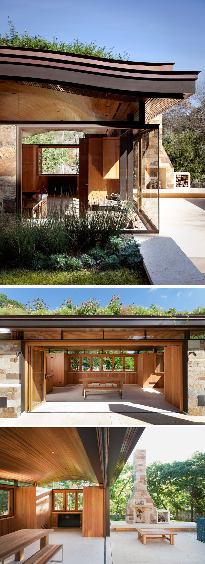 This modern pool house with a curved green roof is home to an indoor-outdoor dining area complete with a high-end residential kitchen, while outside, there's a fireplace for cool nights. #PoolHouse #Fireplace #IndoorOutdoorDining