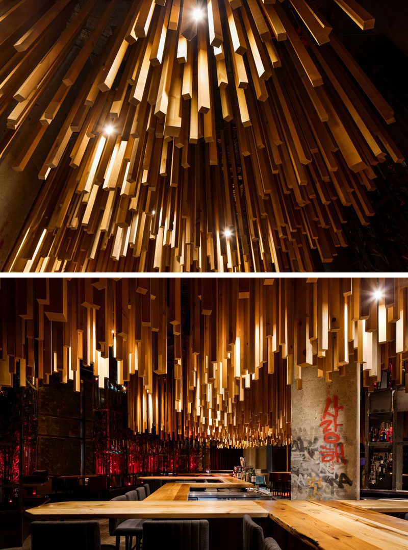2 700 Wood Lengths Hang From The Ceiling In This New Montreal Restaurant