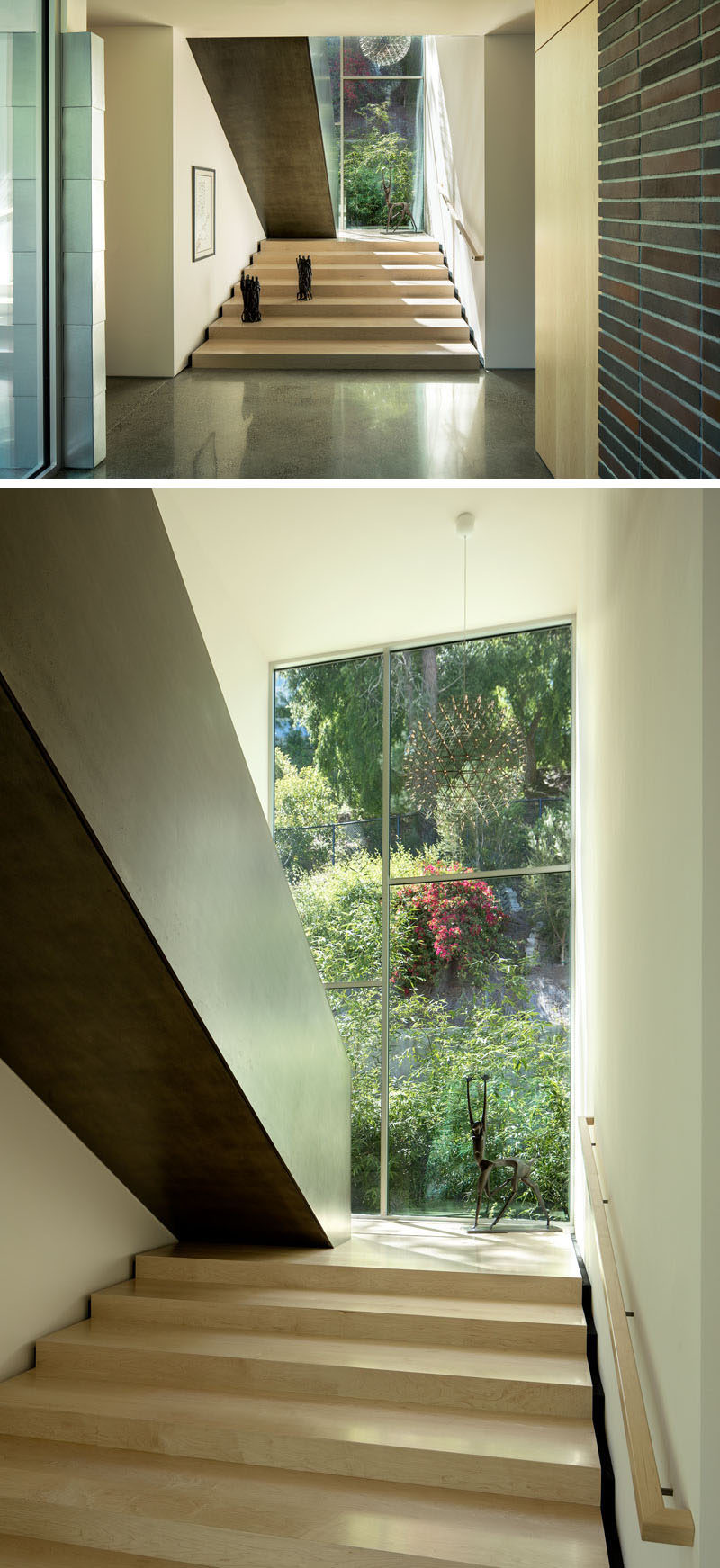 Leading up to the second floor of this modern house is an architectural staircase made from wood and steel that sits at the core of the home. #Staircase #ModernStairs