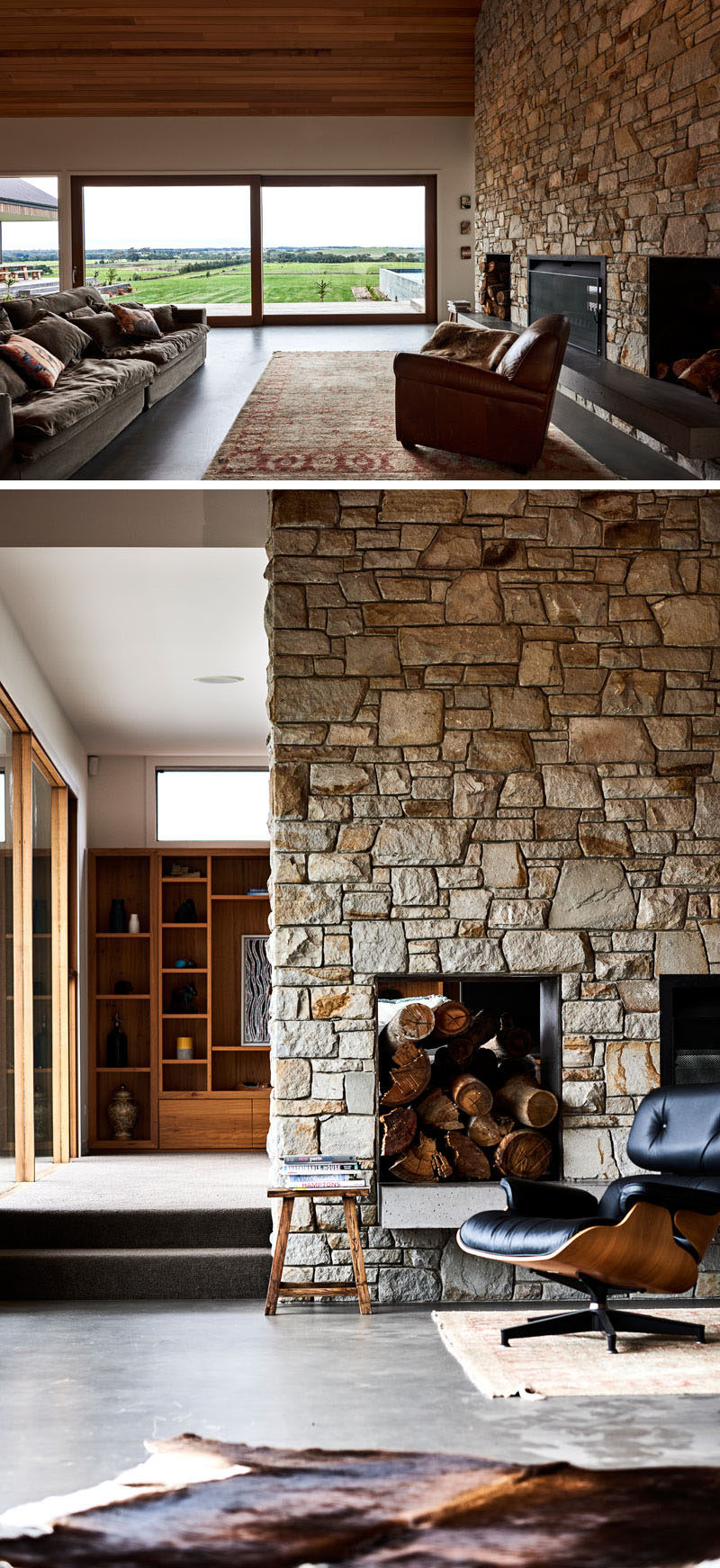 This double-sided fireplace has been crafted out of Mt Angus sandstone, while wood storage with raw steel sheeting have been positioned on each side of the fireplace. #DoubleSidedFireplace #StoneFireplace #InteriorDesign #LivingRoom