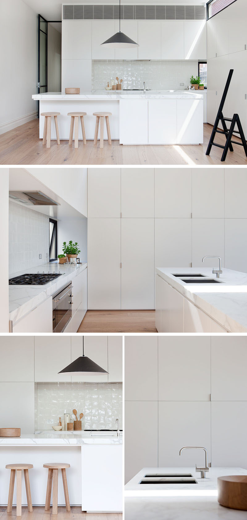 In this modern kitchen, minimalist white cabinets and white tiles match the white island, and keep the space bright and airy. #WhiteKitchen #ModernKitchen #KitchenDesign #WhiteCabinets